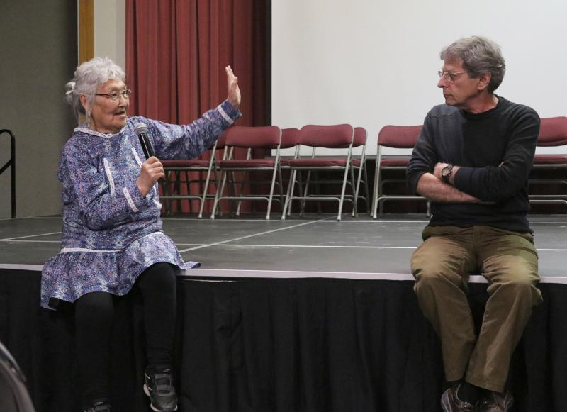 Cecelia Martz (left) and Len Kameraling discuss the film The Drums of Winter after a screening of the digitally restored documentary at the Bethel Cultural Center on May 12, 2017. Cecelia Martz is a retired UAF Kuskokwim University Campus professor of Ant