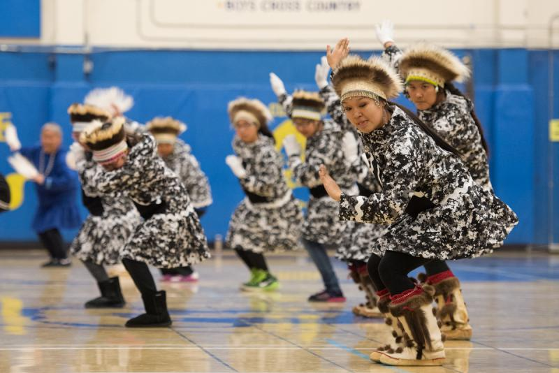 Atmautluak dancers at the LKSD Yuraq Festival in Bethel on April 29, 2017.