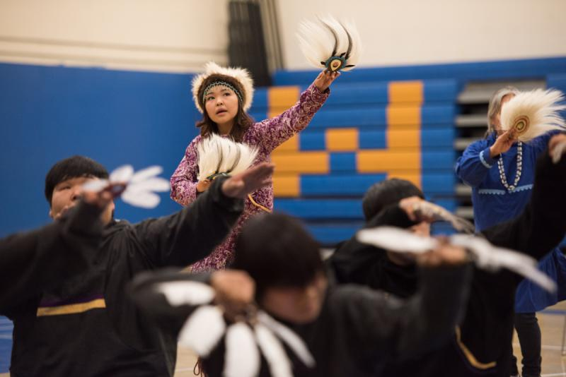 Stephanie Wise dances with the Kuskokwim Learning Academy at the 2017 LKSD Yuraq Festival in Bethel.