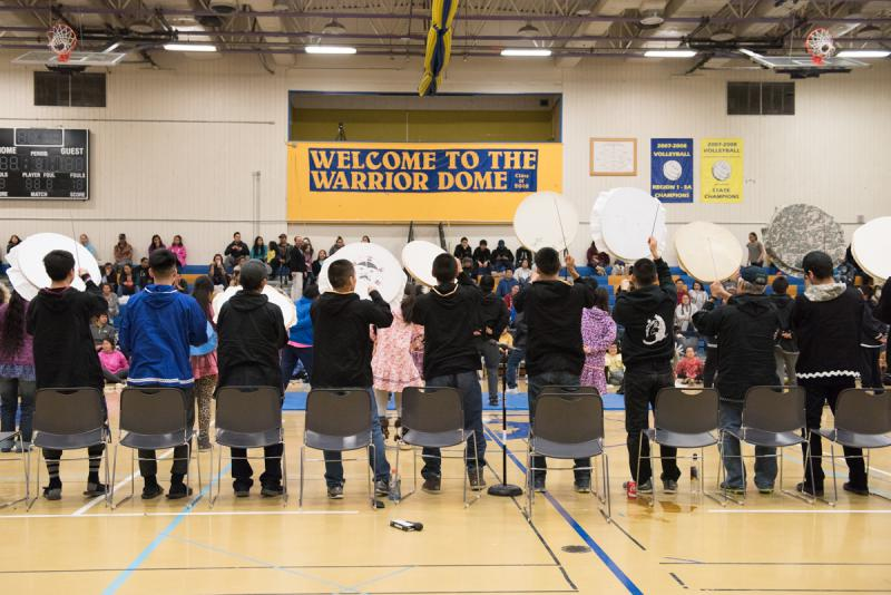 Drummers and dancers from the Kuskokwim Learning Academy performs at the LKSD Yuraq Festival in Bethel on April 29, 2017.