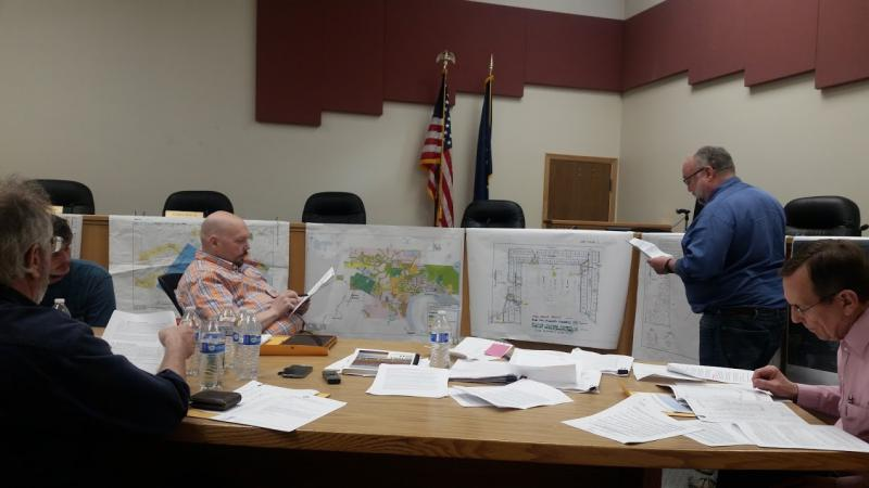 "On May 11, 2017, Bethel City Planning Director Ted Meyers (2nd to the right), presents Staff Report on State Senator Hoffman's ""Blue Sky Estates"" subdivision proposal."