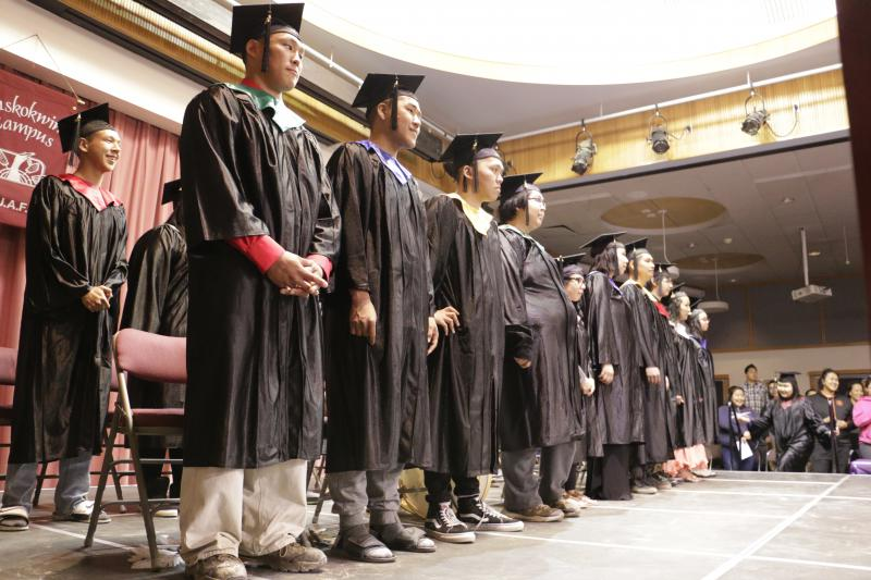 Graduates of the Kuskokwim Learning Academy at the Yupiit Piciryarait Cultural Center on Saturday, May 13, 2017.