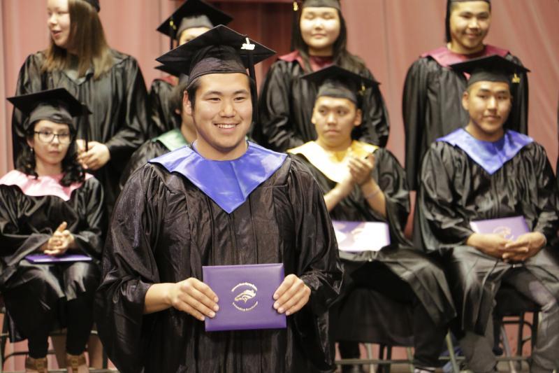 KLA graduates are awarded their hard earned diplomas at the Yupiit Piciryarait Cultural Center on Saturday, May 13, 2017.