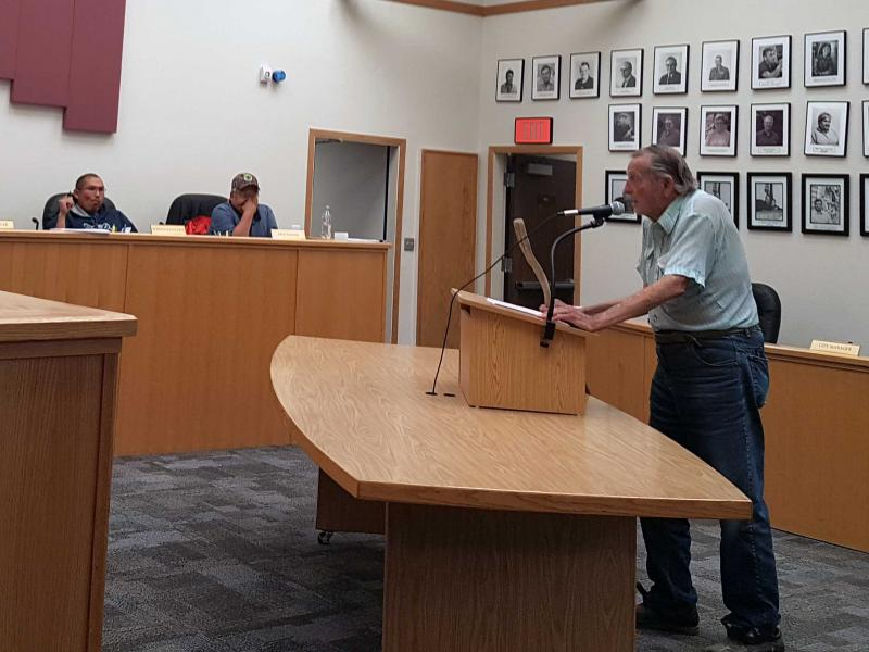Dave Trantham, addressing Bethel City Council on June 27. Trantham spoke to not wanting an increase to the alcohol sales tax.