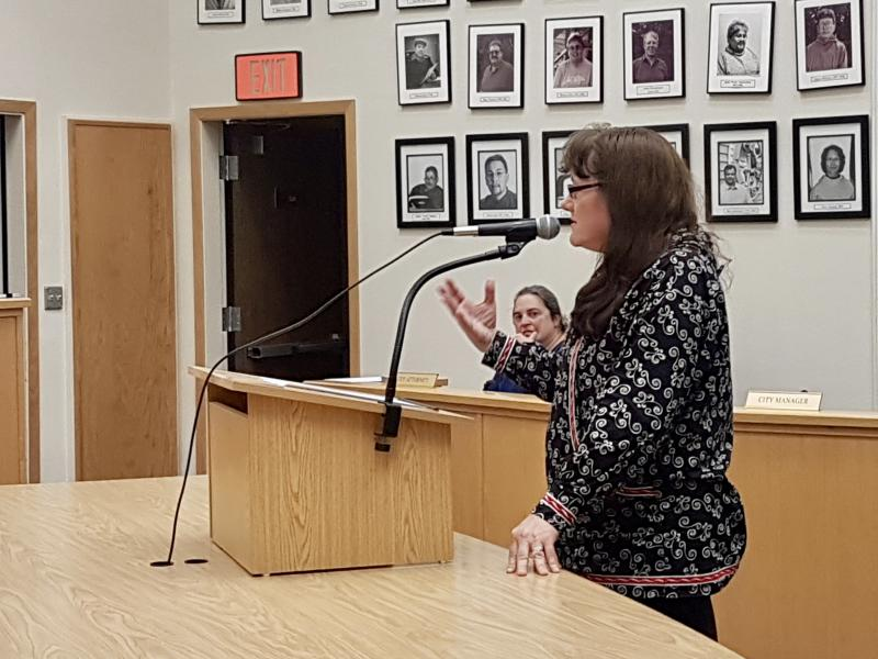 Carol Ann Willard of the Tundra Women's Coalition speaks to the Bethel City Council on Tuesday night, June 27, asking Council to  pass 17-27 to secure protections for renter that may be victims of domestic violence.