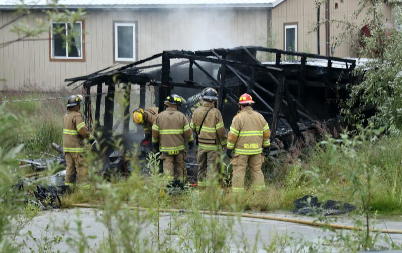 Bethel firefighters put out a fire on Sixth Avenue that destroyed the Prince's family's summer subsistence harvest of fish and berries.