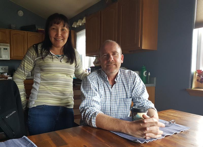 Isabelle (left) and Hugh (right) Dyment, at their home in Bethel. Isabelle is one of the first four assistant level teachers in the LKSD Two and Done program. Photo taken June 27, 2017.