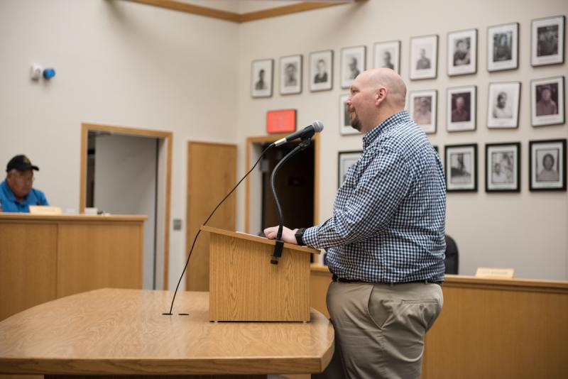 Finance Committee Chair Jon Cochrane (center) addresses the Bethel City Council during 'People to be Heard,' on behalf of the work he and the Committee have put into the tax code rewrite over the last year and a half. July 11, 2017.