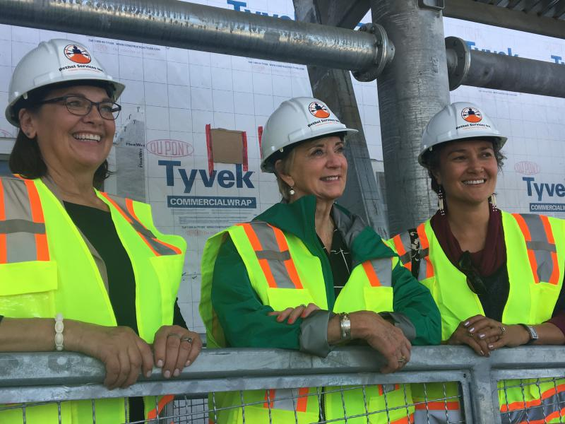 SBA Administrator Linda McMahon tours Kwethluk school with Ana Hoffman (R) and SBA Alaska District Office Director Nancy Porzio (L).