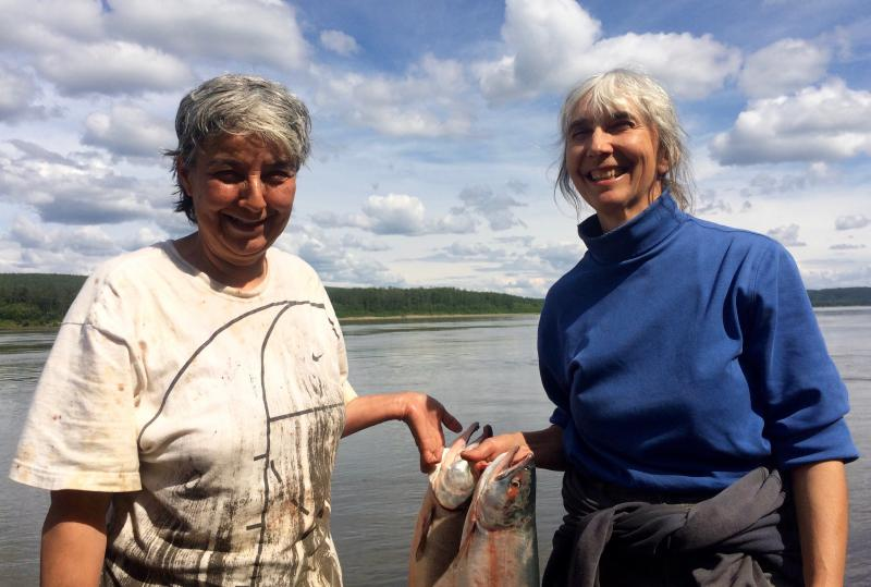 Maggie Bobby and Barb Carlson (left to right) have run a fish wheel near Sleetmute since 2015.