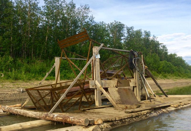 The fish wheel runs four miles downriver of Sleetmute.