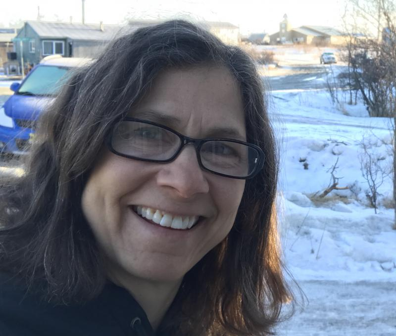 Lisa Demer, ADN Western Alaska correspondent, in April 2017 outside her Bethel home-office.
