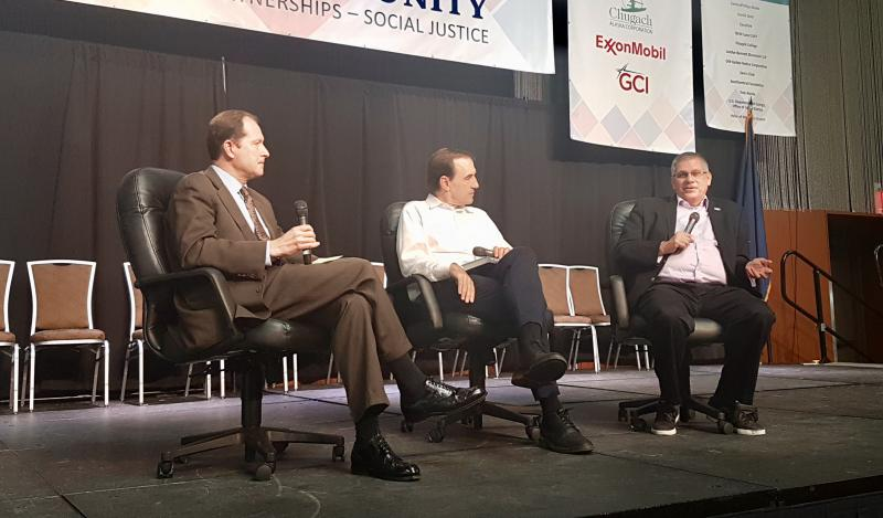 Perspectives on Climate Change panel, Retired Ambassador Mark Brzezinski (left), Rolling Stone's Jeff Goodell (center), and Independent Journalist Mark Trahant (right).