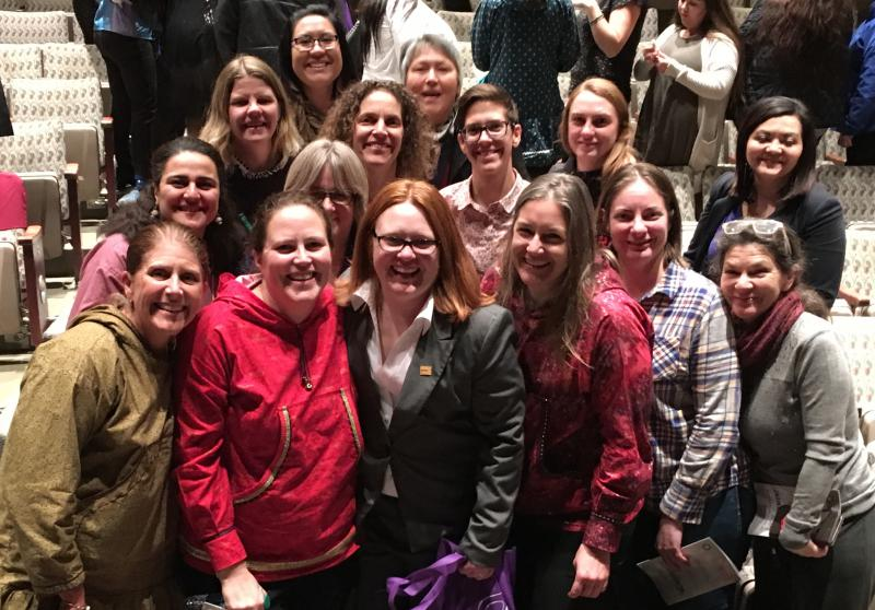 Michelle DeWitt, surrounded by family and friends, received an Alaska YWCA Women of Achievement Award on November 8, 2017 at the Alaska Center for Performing Arts in Anchorage.