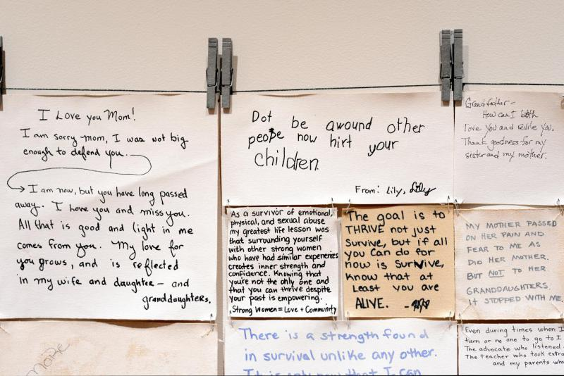 "In ""Hope Quilt,"" an art installation that toured Bethel last month, Alaskan artist Carmel Anderson displays anonymous stories from abuse survivors throughout the state. Alaska's sexual assault rates are high, and Alaska Native females are more likely to b"