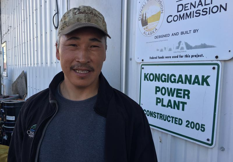 Roderick Phillip, the Puvurnaq Power Company's manager, stands in front of Kongiganak's power plant.