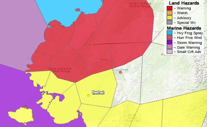 The Yukon Delta remains under a blizzard warning through noon on Thursday, November 23. Whiteout conditions with drifting snow up to 12 inches are expected.