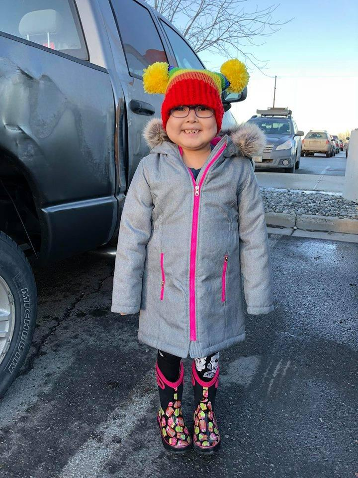 "First grader Amelia ""Arnaucuaq"" Jones was diagnosed with leukemia this year. She's currently in Anchorage receiving treatment."