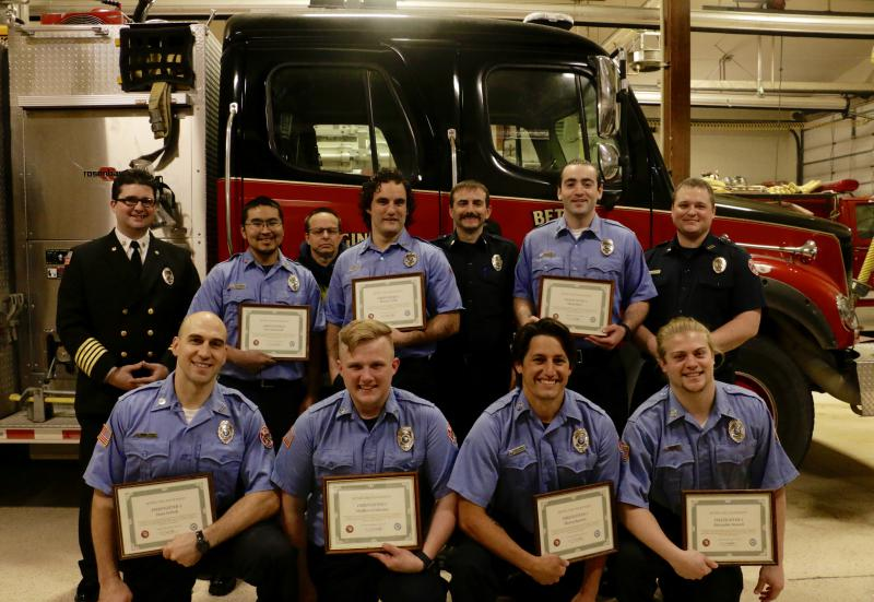 "[Back row, left to right] Fire Chief Bill Howell, FF/EMT Kyle Inman, FF/EMT Thomas Haviland, and Fire Captain Daron Solesbee. [Middle row] John Kameroff, Monroe Tyler, Shadi Rabi/EMT, [Bottom row] Jesse Gefroh, Matthew Cochrane/EMT, Steven ""Tucker"" Burnet"