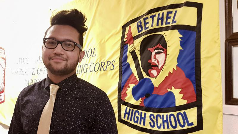 Bethel Regional High School Junior Marc Adlaon of Bethel is the new Student Representative to the Lower Kuskokwim School District Board. He is pictured here at his first board meeting on December 1, 2017.