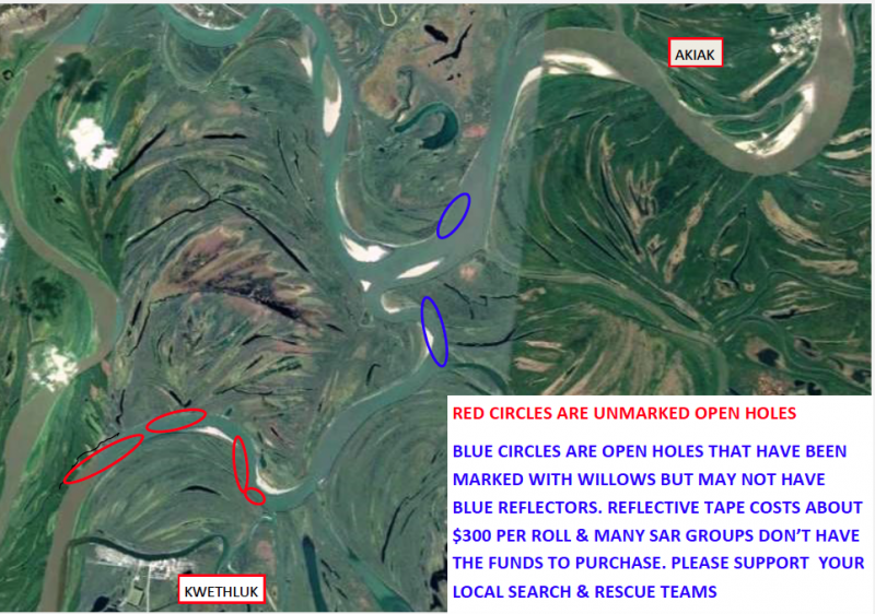 There are still at least seven open holes in Kuskokuak Slough. The holes marked in blue were staked with willows by Akiak Search and Rescue from December 18-19, 2017.