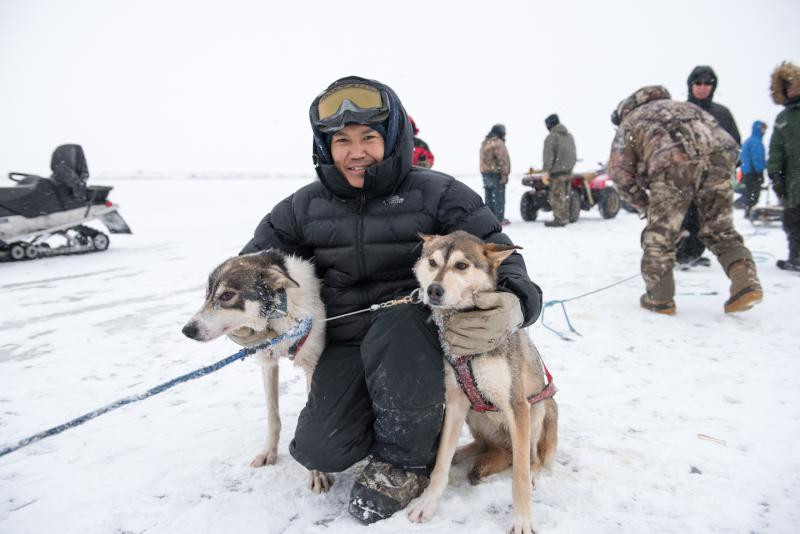 Maurice Andrews of Bethel finishes in first place in the Kuskokwim 300 Season Opener in blizzard conditions on Saturday, December 30, 2017.