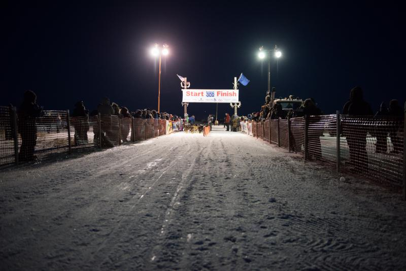 The 2018 Kuskokwim 300 Sled Dog Race start line in Bethel, Alaska.
