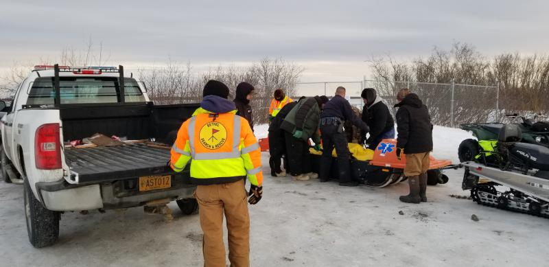 Bethel Search and Rescue releases Mark Kasayulie's body to the Alaska State Troopers near Bethel's Hangar Lake on the afternoon of January 1, 2018.