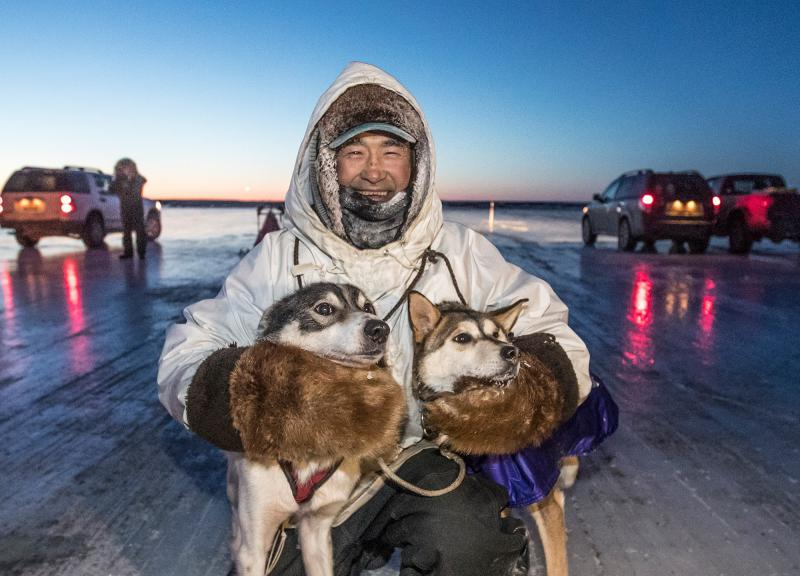 George Manutoli of Akiachak took first in the 2018 Akiak Dash, winning the 65-mile race in 6 hours and 42 minutes on January 27, 2018.