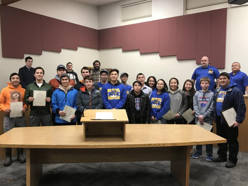 Mayor Richard Robb and Council members passed a proclamation recognizing the Bethel Warriors' Division II State Wrestling Championship title.