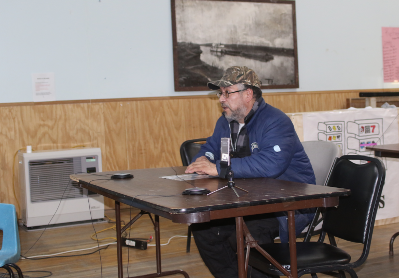 Grady Deaton (left) with the Kuskokwim Consortium Library, and Adrian Wagner (right) with 4-H Cooperative Extension have teamed up to train young people on how to preserve cultural histories by using the StoryCorps smartphone app in Bethel.