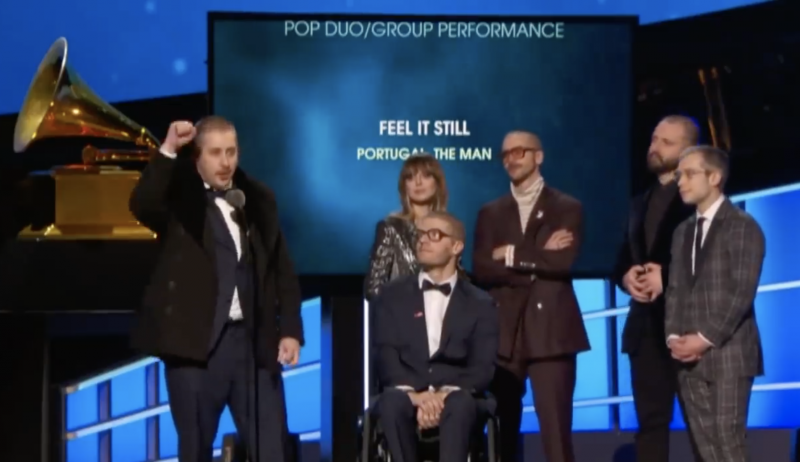 When the Alaskan band Portugal. The Man won a Grammy for Best Pop Song on January 28, 2018, they gave a shout-out to Bethel and Alaska's indigenous people during their acceptance speech.