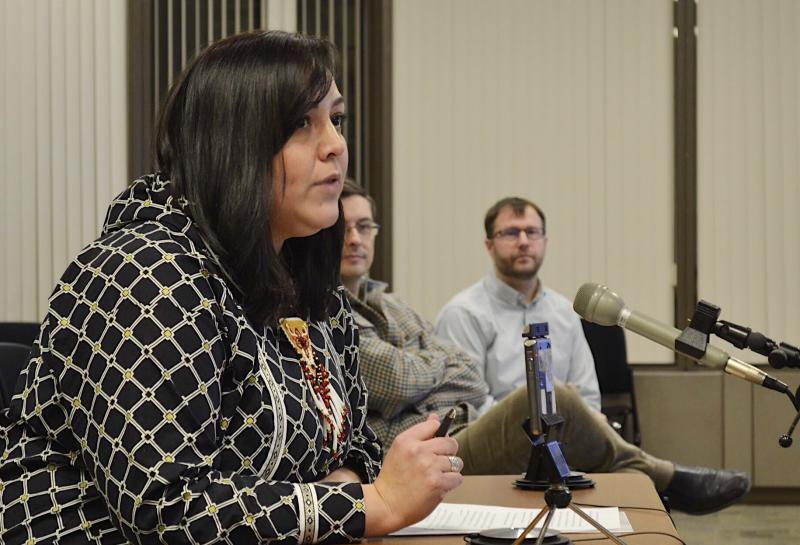 Andrea Gusty, Vice President of Corporate Affairs for The Kuskokwim Corporation, testifies in support of Donlin's waste and wastewater draft permits in Anchorage on January 26, 2018.