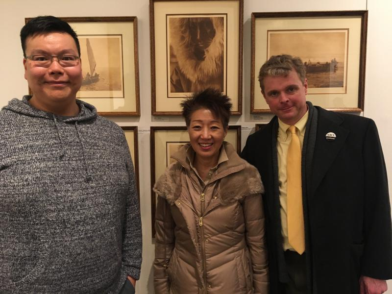 Museum curator Ben Charles, NEA Chairman Jane Chu, and Alaska State Council on the Arts Chair Benjamin Brown tour the Bethel Cultural Center's museum.