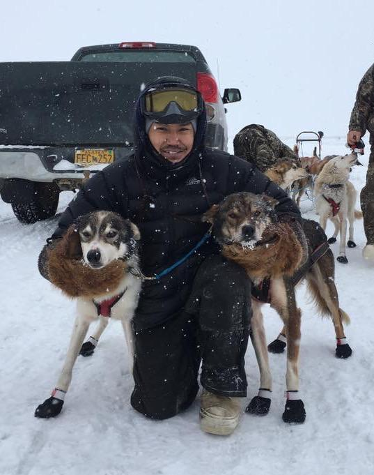 Bethel musher Maurice Andrews takes first in the February 50 sled dog race on February 24, 2018.