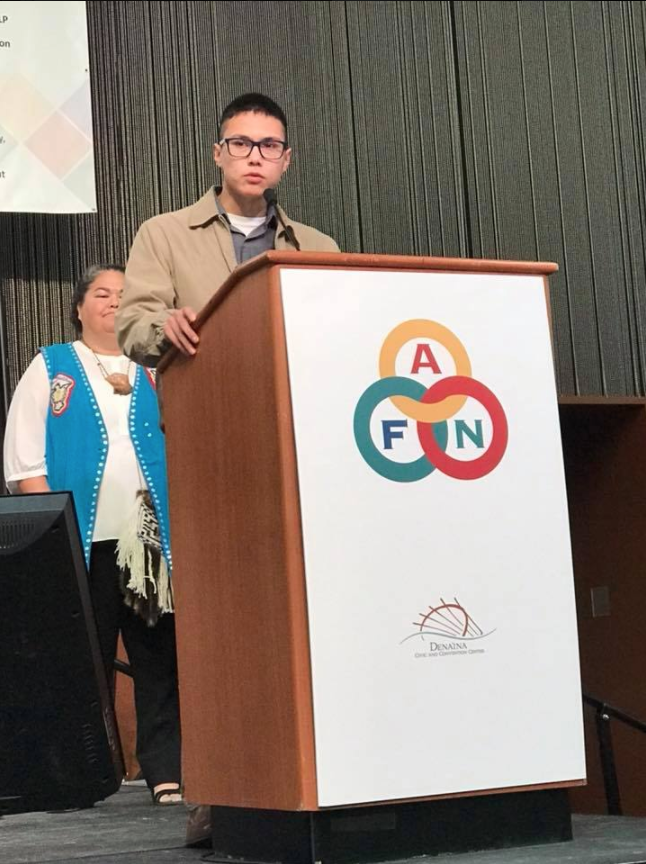 Ben Anderson-Agimuk speaks at the Alaska Federation of Natives Annual Convention in October 2017. On Tuesday, House District 38 Democrats selected Anderson-Agimuk to be their party's chair.