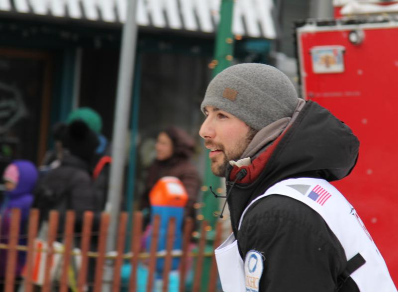 Aniak musher Richie Diehl at the Iditarod ceremonial race start in Anchorage on March 3, 2018.