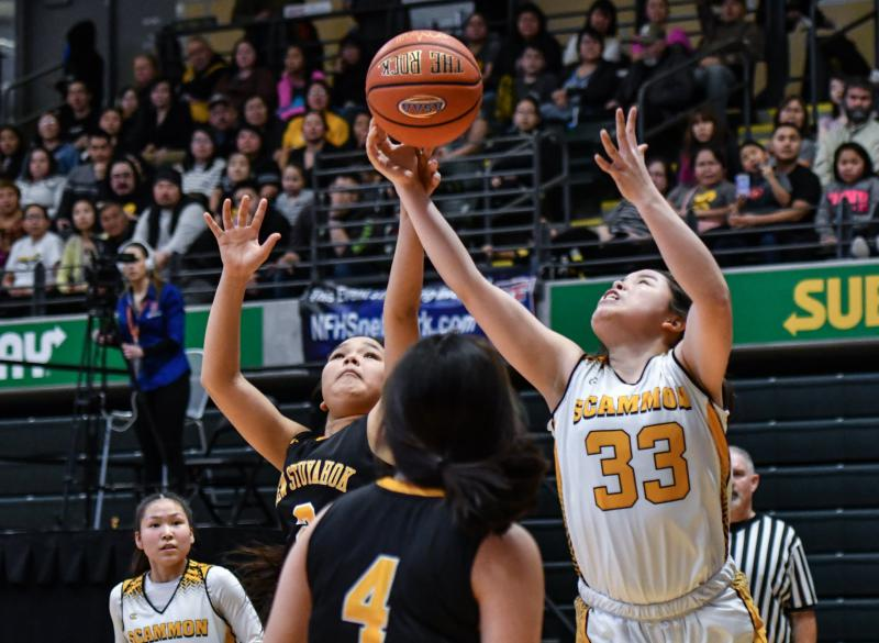 The Scammon Bay girls won by a wide margin against New Stuyahok, 88 to 45, on the first day of the 1A Small School State Basketball tournament in Anchorage on March 14, 2018.
