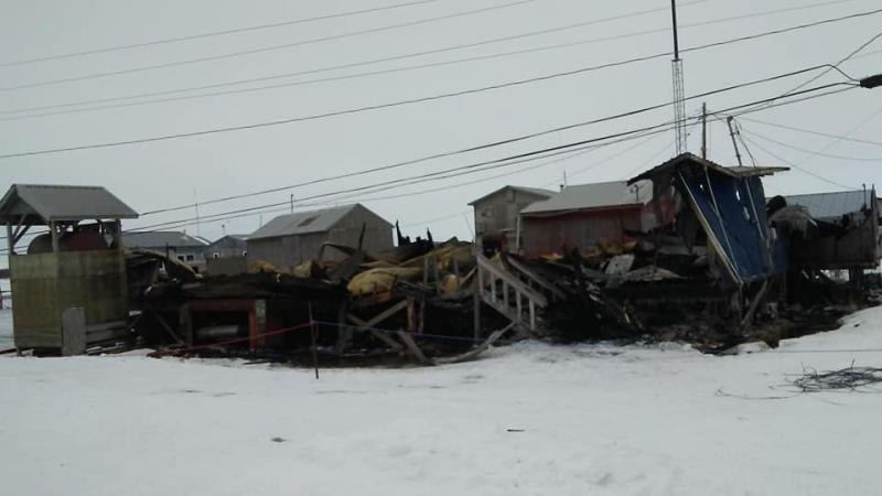The Kotlik Community Hall on March 26, 2018, less than a day after a fire engulfed the building.