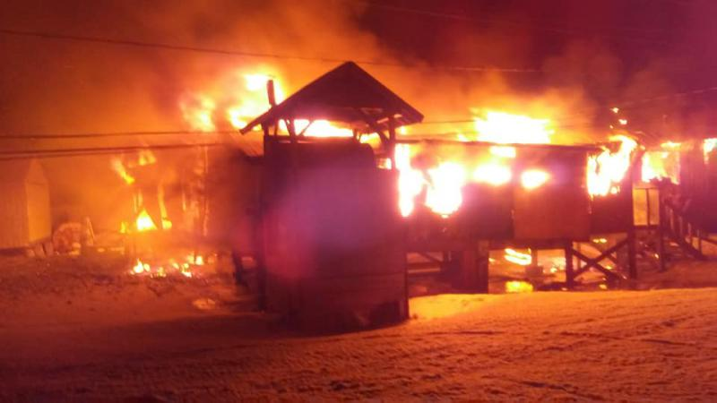 "Kotlik's Community Hall burns in the early morning hours of Monday, March 26, 2018. Alvin Aketachunak helped put out the fire and titled this photo on Facebook, ""Our poor hall :("""