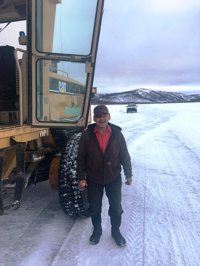 Crooked Creek grader operator Johnny John Jr. on March 3, 2018.