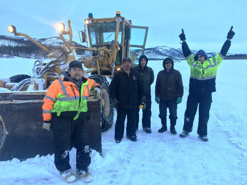 The Crooked Creek ice road crew completes the Kuskokwim's longest ice road ever on March 3, 2018.