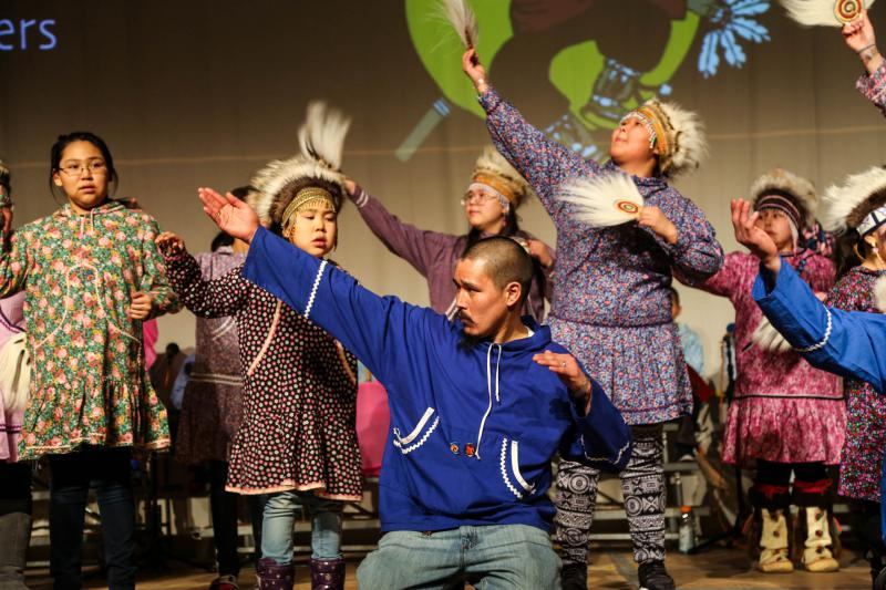 Kasigluk community dancer Levi Nicholas is the grandson of Wassillee Nicholas, one of the Kasigluk dancers to whom Cama-i 2018 is dedicated. Levi Nicholas is pictured here at the Cama-i Dance Festival on March 16, 2018 in Bethel, Alaska.