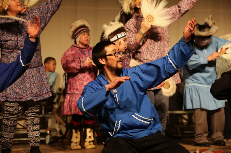 Gary Beaver leads Kassiglurmiut, the Kasigluk Community Dance Group. He's pictured performing at the 2018 Cama-i Dance Festival on March 16, 2018 in Bethel, Alaska.