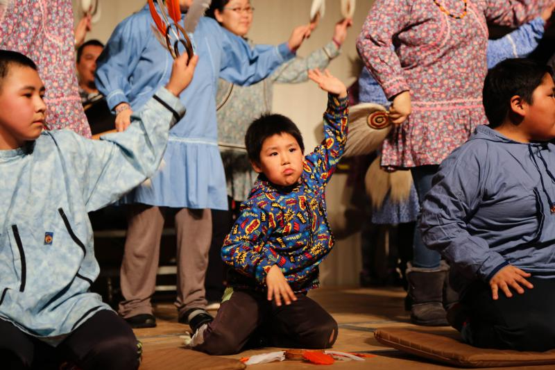 The smallest Kasigluk dancer performs with his community dance group at the Cama-i Dance Festival on March 16, 2018 in Bethel, Alaska.