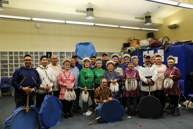 Kotlik dancers shortly after their first performance on Friday night.