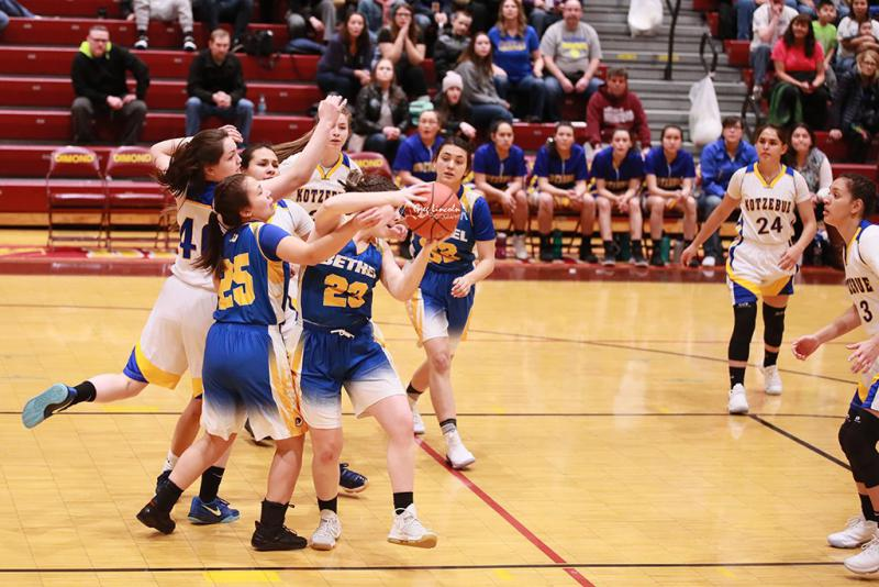 The Bethel Warrior girls basketball team secured their spot in the 2018 state championships with a 55 to 50 win against the Kotzebue Huskies on March 10, 2018 at the Western Conference Regional Tournament in Anchorage.
