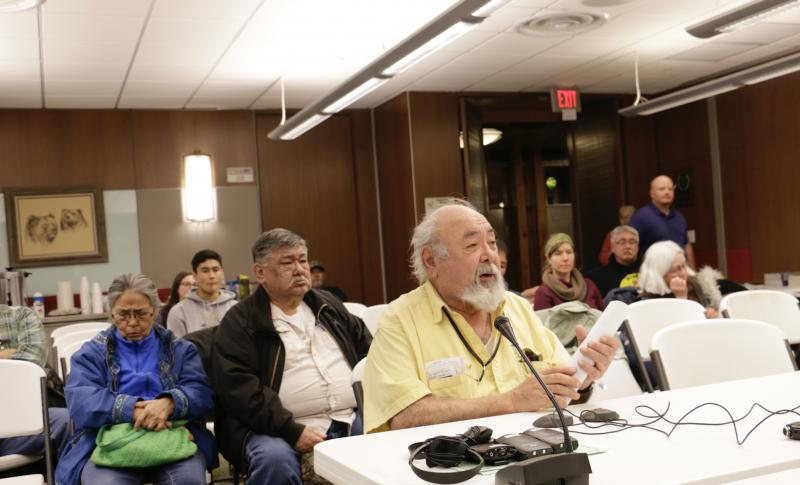 Bob Aloysius of Kalskag testifies at the Federal Special Action public hearing held by the Federal Subsistence Board in Bethel on March 14, 2018.