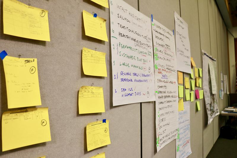 Ideas paper the walls at the Bethel Cultural Center as residents develop a regional climate adaptation plan.