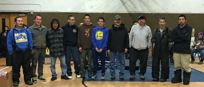 Pictured are 10 of the 12 mushers who competed in Kwethluk's Sled Dog Sprint Race on March 16 and 17, 2018.
